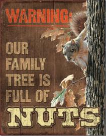 Family Tree - Nuts    Metalen wandbord 31,5 x 40,5 cm.