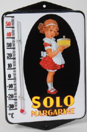 Solo Margarine.  Emaille thermometer met oren.