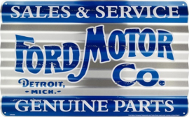Ford Sales & Service Genuine Parts. Aluminium wandbord 29 x 46 cm.