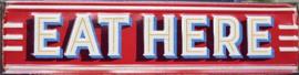 Eat Here Metalen wandbord 80 x 20 cm