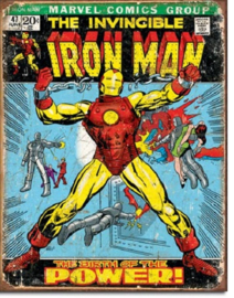 Iron Man Comic Cover.  Metalen wandbord 31,5 x 40,5 cm.