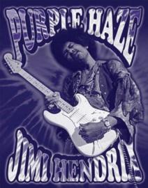 Jimi Hendrix Purple Haze.   Metalen wandbord 31,5 x 40,5 cm