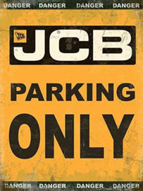JCB Parking Only Metalen wandbord 30 x 40 cm.