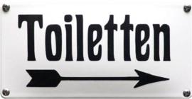 Toiletten. Pijl naar Rechts Emaille bordje 20 x 10 cm.