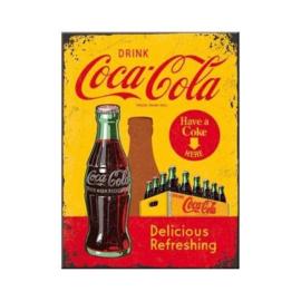 Coca Cola In Bottles Yellow. Koelkastmagneet 8 cm x 6 cm.