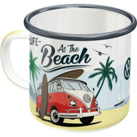 VW Bulli At the beach Emaille Drinkbeker.