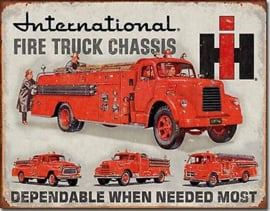 International Harvester Fire Truck Chassis Metalen wandbord 31,5 x 40,5 cm.
