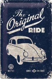 VW Beetle The Original Ride Metalen Wandbord in reliëf 20 x 30 cm