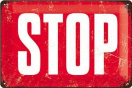 STOP  Metalen wandbord in reliëf 20 x 30 cm