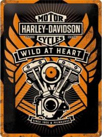 Harley Davidson Wild at Heart Metalen wandbord in reliëf 30x40 cm