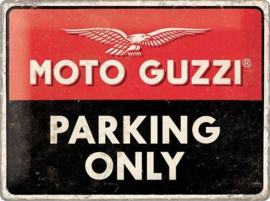 Moto Guzzi parking Only.    Metalen wandbord in reliëf 30 x 40 cm.