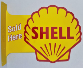 Shell Sold Here.  Aluminium uithangbord 34 x 45 cm.