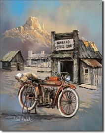 Indian Navajo Cycle Shop Metalen wandbord 31,5 x 40,5 cm.