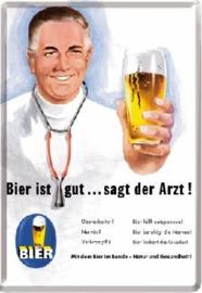 Bier ist gut... sagt der Arzt Metalen  Postcard 10 x 14 cm.