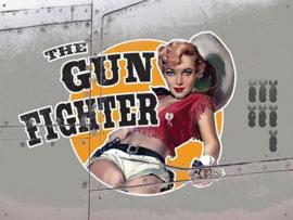 The Gun Fighter Bomber Girl  Metalen wandplaat 40 x 30 cm.