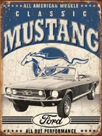 Classic Mustang 2 Metalen wandbord 31,5 cm  x 40,5 cm..
