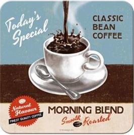 Morning Blend Coffee Blauw.  Onderzetters 9 x 9 cm.