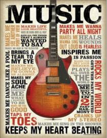 Music... Inspires Me Metalen wandbord 31,5 x 40,5 cm.