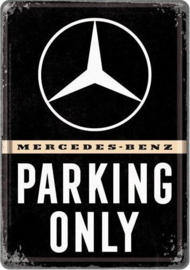 Mercedes-Benz Parking Only  Metalen Postcard 10  x 14 cm.
