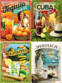 Caribbean drinks 4 Metalen wandborden in reliëf 15 x 20 cm.