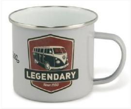 Volkswagen Bus legendary.   Emaille Beker Grijs