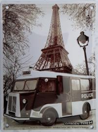 Citroën Camion Police.  Metalen Wandbord in reliëf 15 x 20 cm.
