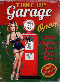 Tune Up Garage Open.  Metalen wandbord 25 x 33 cm.