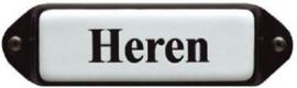 Heren (3) Emaille bordje met oor 8 x 3 cm.