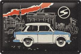 Trabant Berlin Black..  Metalen wandbord  20 x 30 cm.