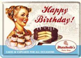 Happy Birthday Metalen Postcard 10 x 14 cm.
