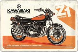 Kawasaki Z1 Metalen wandbord in reliëf 20 x 30 cm.