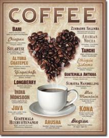 Heart Coffee.  Metalen wandbord 31,5 x 40,5 cm.