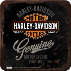Harley Davidson Genuine Onderzetters 9 x 9 cm.  5 stuks.