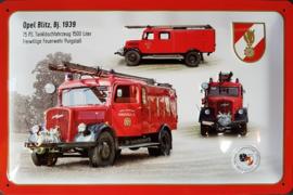 Opel Blitz 1939 brandweer. Metalen wandbord in reliëf 20 x 30 cm.