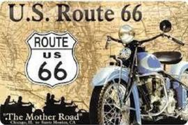 U.S. Route 66 .  Metalen wandbord in reliëf 20 x 30 cm.