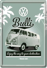 VW T1 Bulli The Way Metalen Postcard 10 x 14 cm