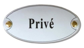 Prive Emaille Naambordje 10 x 5 cm Ovaal
