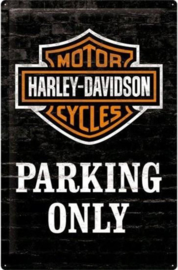 Harley Davidson Parking Only  Metalen wandbord in reliëf 20 x 30 cm.