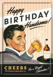 Happy Birthday Handsome! Metalen Postcard 10x14 cm