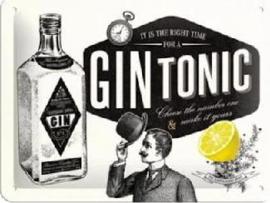 Gin Tonic Metalen wandbordin reliëf15 x 20 cm