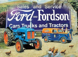 Ford and Fordson (2) Sales and Service Metalen wandbord 30 x 40 cm