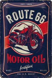 Route 66 Motor Oil. Metalen wandbord in reliëf 20 x 30 cm.