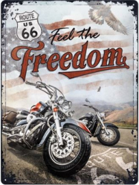 Route 66 Freedom  Metalen wandbord in reliëf 30 x 40 cm .