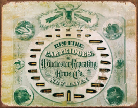 Winchester Rimfire. Metalen wandbord 31,5 x 40,5 cm.