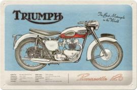 Triumph. Bonneville. Metalen wandbord in reliëf 20 x 30 cm .