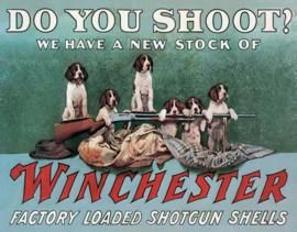 Winchester Shoot.  Metalen wandbord 31,5 x 40,5 cm.