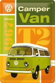 VW T2 Camper Van Since 1967  Metalen Wandbord 20 x 30 cm.