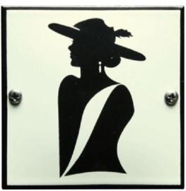 Nette Dame Emaille Toiletbordje 10 x 10 cm.