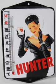Hunter.  Emaille thermometer met oren.