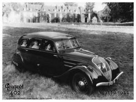 Peugeot 402 1935 a 1942 (2)  Metalen wandbord 15 x 21 cm.